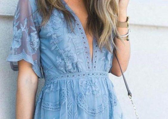 Błękitny look