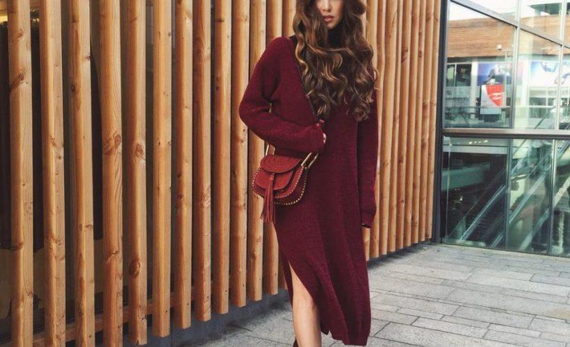 Swetrowa sukienka w stylizacjach